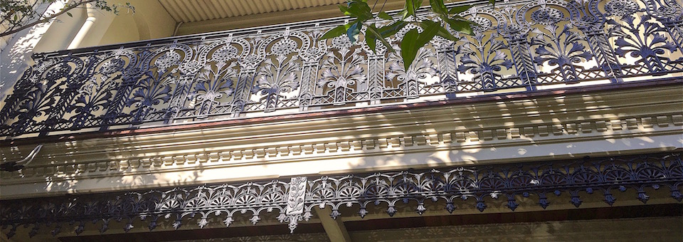 terrace house restoration, balcony, balustrade, cast iron, frieze,