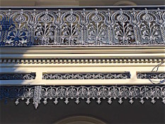 terrace house balcony balustrade cast iron lace restoration