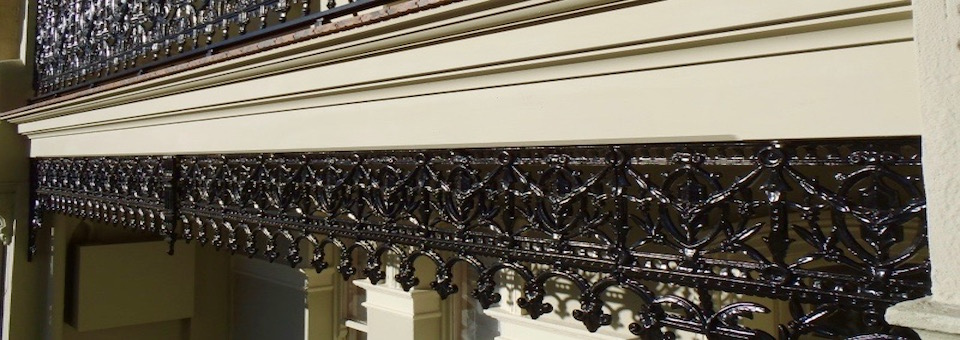 terrace house balcony balustrade cast iron lace frieze restoration
