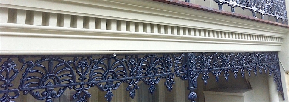 terrace house balcony restoration balustrade cast iron frieze reproduction lace