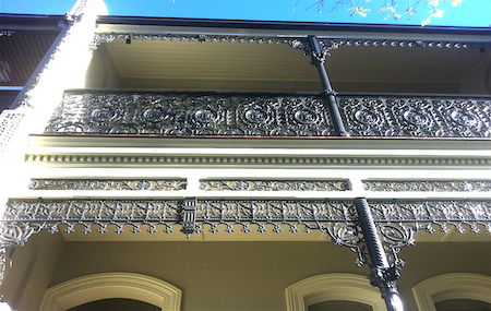 terrace house balcony balustrade restoration cast iron frieze lace